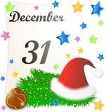 Page de calendrier avec des détails de Noël Photo stock