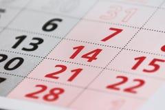 Page de calendrier avec un détail Photos stock