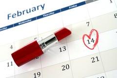 Page de calendrier de février et peu de jour de valentines rouge d'inscription de coeur Photographie stock