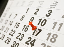 Page de calendrier de plan rapproché Image stock