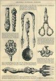Page de catalogue illustrée par tourillon antique d'art Images libres de droits