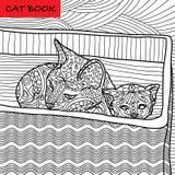 Page de chat de coloration pour des adultes Chat de maman et son chaton se reposant dans une boîte Illustration tirée par la main Images libres de droits