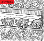 Page de chat de coloration pour des adultes Chaton trois nouvellement soutenu jetant un coup d'oeil hors de la boîte Illustration Photos stock
