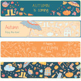 Page de coloration avec des icônes d'automne Images stock