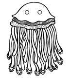 Page de coloration avec des méduses de bande dessinée illustration stock