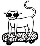 Page de coloration avec le chat sur la planche à roulettes Photo libre de droits