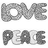 Page de coloration avec le mot d'amour et de paix illustration libre de droits