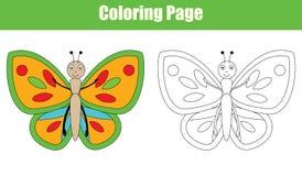 Page de coloration avec le papillon, activité d'enfants Photographie stock