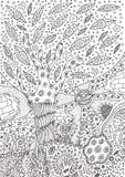 Page de coloration avec le paysage surréaliste illustration libre de droits