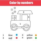 Page de coloration avec le train de jouet Couleur par des nombres, fiche de travail imprimable Jeu éducatif pour des enfants, des illustration stock