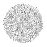 Page de coloration avec les cerfs communs courants et le cercle floral Photos libres de droits