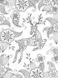 Page de coloration avec les cerfs communs courants et le fond floral Composition verticale Photographie stock libre de droits