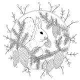 Page de coloration avec les détails élevés d'isolement sur le fond blanc Croquis de monochrome de vecteur Collection de nature illustration libre de droits