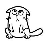 Page de coloration de caractère de Cat Cartoon noire et blanche illustration stock