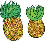 Page de coloration d'ananas Art coloré de griffonnage de vecteur graphique pour illustration libre de droits