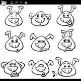 Page de coloration de bande dessinée d'émoticônes de chien Photographie stock libre de droits