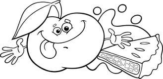 Page de coloration de bande dessinée d'Apple et de tarte Photo libre de droits