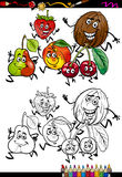 Page de coloration de bande dessinée de groupe de fruits Photos libres de droits