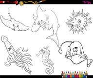 Page de coloration de bande dessinée de vie marine Image libre de droits