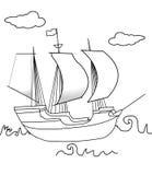 Page de coloration de bateau de navigation illustration libre de droits