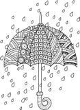 Page de coloration de griffonnage d'aspiration de main pour l'adulte J'aime Autumn Rain Style de parapluie de mode Photographie stock libre de droits
