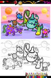 Page de coloration de groupe d'imagination de bande dessinée Photo libre de droits