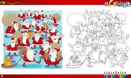 Page de coloration de groupe de Noël Photos stock
