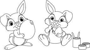 Page de coloration de lapin de Pâques Photographie stock libre de droits