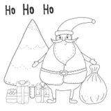 Page de coloration de Noël avec Santa Claus, arbre de Noël, boîte-cadeau Photos stock