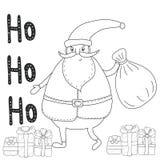 Page de coloration de Noël avec Santa Claus, boîte-cadeau Image stock