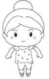 Page de coloration de petite fille Images libres de droits
