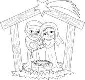 Page de coloration de scène de nativité de Noël Images stock