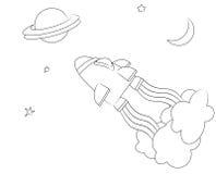 Page de coloration de vaisseau spatial illustration stock