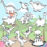 Page de coloration de vecteur de ligne Art Dinosaurs Photos stock