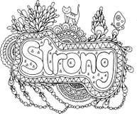 Page de coloration pour des adultes avec le mandala et le mot fort Griffonnage le Images stock
