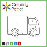 Page de coloration pour des enfants, couleur les parties de l'objet selon des nombres, couleur par des nombres image libre de droits