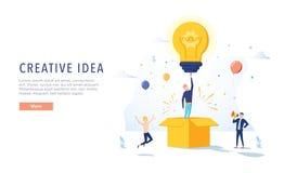 Page de Creative Idea Landing de redacteur publicitaire Concept de créativité d'affaires pour le site Web ou la page Web La publi illustration de vecteur