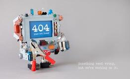 page de 404 erreurs non trouvée Robot de bricoleur avec l'ampoule de pinces rouges sur le fond gris Le message textuel quelque ch Images stock