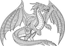 Page de livre de coloriage avec le dragon sur le fond blanc illustration stock