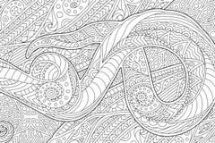 Page de livre de coloriage avec onduler le modèle abstrait illustration de vecteur