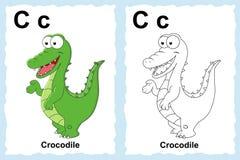 Page de livre de coloriage d'alphabet avec le clipart (images graphiques) d'ensemble à la couleur Lett Images libres de droits