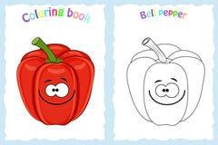 Page de livre de coloriage pour des enfants avec le paprika coloré et le s illustration stock