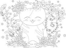 Page de livre de coloriage pour l'adulte et les enfants chaton heureux avec des fleurs et des feuilles Photographie stock