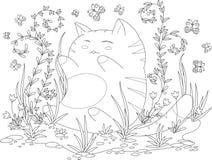Page de livre de coloriage pour l'adulte et les enfants chaton heureux avec des fleurs et des feuilles Photographie stock libre de droits