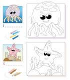 Page de livre de coloration : méduses et étoiles de mer Images stock