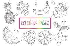 Page de livre de coloriage Positionnement de fruit Croquis, griffonnage, style d'ensemble coloration pour des enfants L'éducation illustration stock