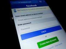 Page de login de Facebook images stock