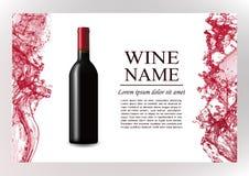 Page de magazine de la publicité, brochure de présentation de vin Illustration d'une bouteille foncée de vin rouge dans le style  illustration libre de droits