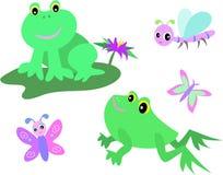 Page de mélange des grenouilles, de la libellule, et du guindineau Photographie stock