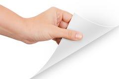Page de rotation de main Image libre de droits
